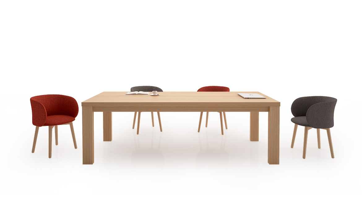 Table de meubles de maison de bureau en placage de bois massif (HC-Long Table)